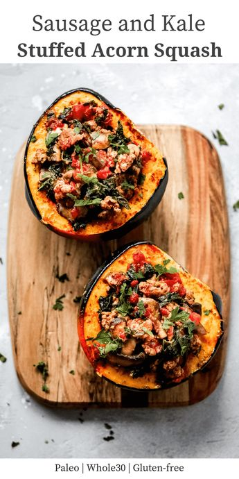 This Sausage and Kale Stuffed Acorn Squash is a feel-good meal that will boost your mood and warm you up during the cold fall and winter days. #acornsquash #sausagestuffedacornsquash