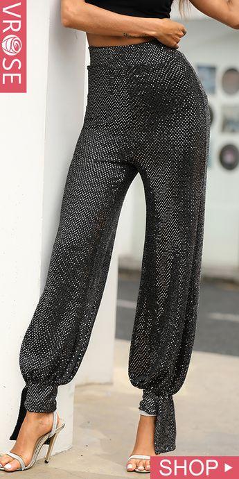 Glitter High Waist Lantern Design Pants