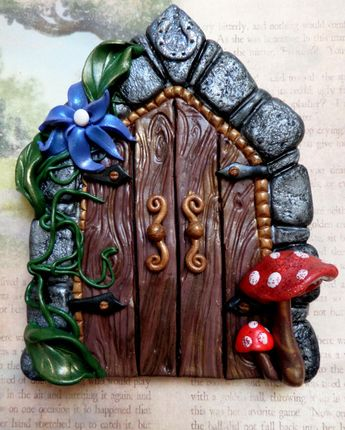Mystical and Magical Castle Fairy Door made from Polymer Clay