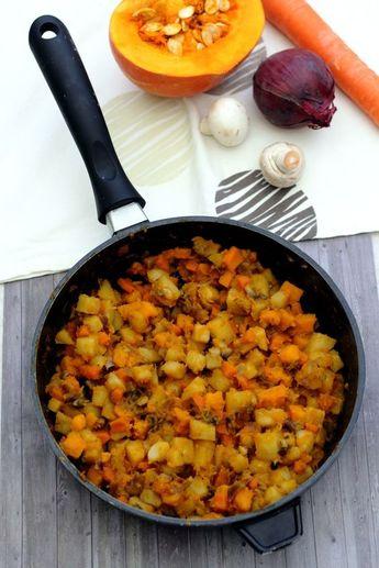 Poêlée d'automne au potimarron, pommes de terre, carotte et champignons