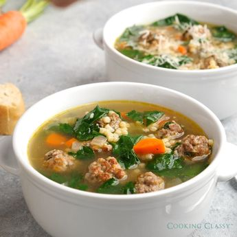 Best ITALIAN WEDDING SOUP - this has gotten great reviews, try it an see why! #italianweddingsoup #meatballs #soup #dinner