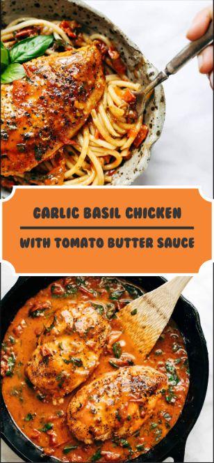 Garlic Basil Chicken With Tomato Butter Sauce - BEAUTIFUL KITCHEN