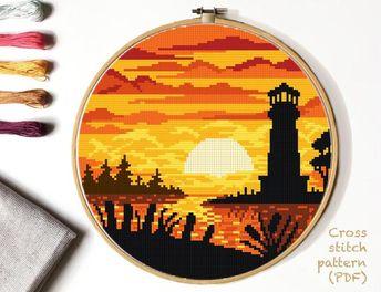 Lighthouse  Cross Stitch Pattern, landscape  counted cross stitch chart, sea, sunset cross stitch, h