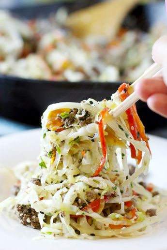 Asian Crack Slaw recipe- This dish really packs in all the colors and textures in a delicious grain free meal.