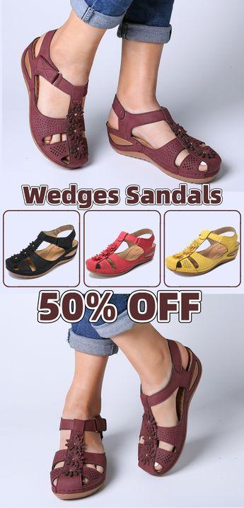 Flower Hook Loop Casual Women Fisherman Wedges Sandals, hot sale now!