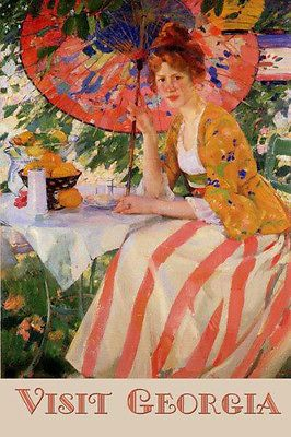 Details about Georgia Lady Parasol Travel Tourism Vintage Poster Repro FREE S/H Shipped Rolled