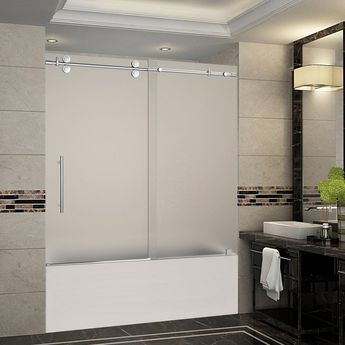 Aston Langham 56 in. to 60 in. x 60 in. Completely Frameless Sliding Tub Door with Frosted Glass in Chrome