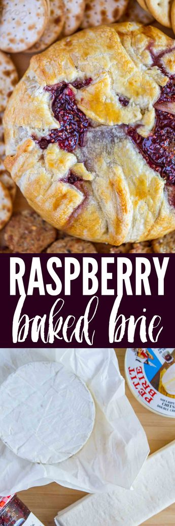 Raspberry Baked Brie is the perfect holiday appetizer with just FOUR ingredients. Perfect for Christmas and New Years Eve!