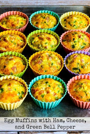 Low-Carb Egg Muffins with Ham, Cheese, and Green Bell Pepper