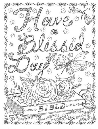 INSTANT DOWNLOAD Coloring Page To Color Christian Scriptures Bible Church Digital Art