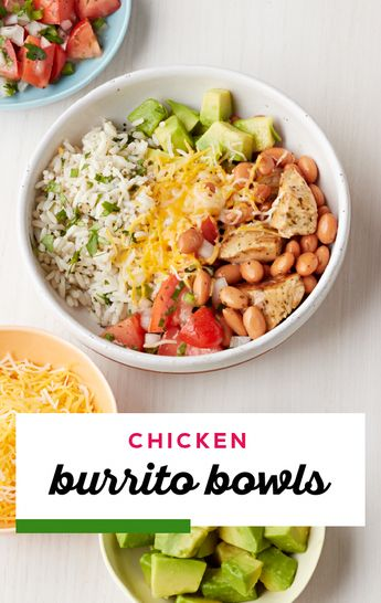 Chicken Burrito Bowls – Skip the takeout and create your very own Chicken Burrito Bowls at home! Enjoy the flavors of your favorite Mexican-style dish without the mess. Plus, did we mention that this recipe is ready for your dinner table in 40 minutes? #easyhealthydinnerideas