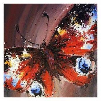 5D DIY Full Drill Round Diamond Painting Butterfly Cross Stitch Kit (Red)