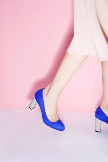 f6e5bcc614c4 Something blue for a garden party wedding! Royal blue wedding shoes with a  comfortable block