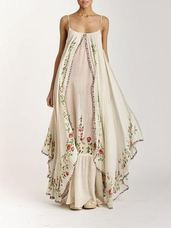 Bohemian embroidered suspender dress - White / S