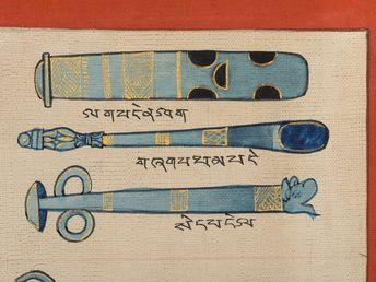 #instruments #depicting #medical #thangka #science #source #tibet #the #of #th #cMedical Thangka depicting 'Instruments of the Medical Science'. Tibet, 20th C (Source)