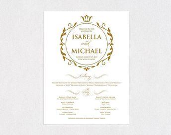 Gold Wedding Program Poster Large Ceremony