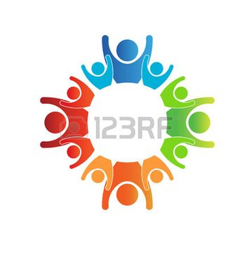 123RF logo illustration teamwork circle winners group of people in color