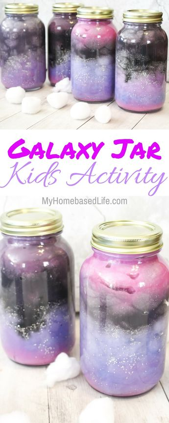 These Galaxy Jars are so simple and fun for the kids to create. Let your child's creativity go wild on these and their masterpiece will be amazing! #galaxy #homeschoolunit #kidsactivity #space #nebulajar | Homeschool Activity | Galaxy Activity | STEM Activity | Galaxy Jar | Nebula Jar | Science Projects | Easy Kids Activities | Simple Kids Activities |