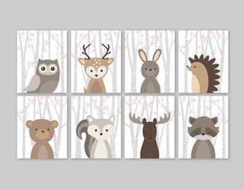 Baby Mädchen Kinderzimmer Dekor Wald Tiere Wald Kindergarten Mädchen Rosa Wald Animal-Prints Set Eule Hirsch Hase Bär Eichhörnchen Elch Waschbär
