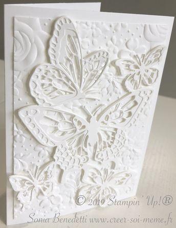"""J'aime beaucoup les couleurs et de temps en temps, j'aime sortir de ma zone de confort! Hier après midi, j'ai créé une carte toute blanche, j'ai juste joué avec mes découpes """"Beaux papillons"""" et le plioir de gauffrage profond Fleurs champêtres (réf 149698)..."""
