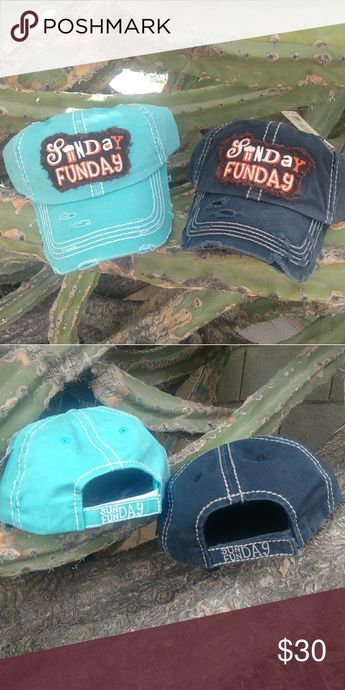 """🆕 Sunday Funday Distressed Cap Vintage look distressed baseball cap embroidered patch """"Sunday Funday"""". Adjustable velcro closure. Beer Available in black or turquoise. 🔴Price Firm Unless Bundled 🔴No Trade Boutique Accessories Hats"""
