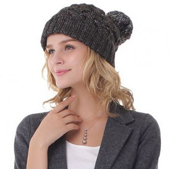 Women hairball cable knit beanie hat for winter outdoor wear 71902f1ebb9d