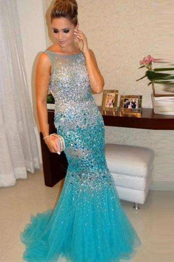 e91b0929557d Outlet Distinct Mermaid Prom Dress Luxurious Mermaid Straps Beading Crystal  Evening Dresses Prom Dresses