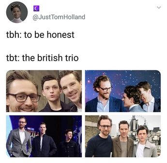 In the second picture it looks like Tom Hiddlestone is tom Holland's dad and is proudly looking into his eyes awww 😂😭
