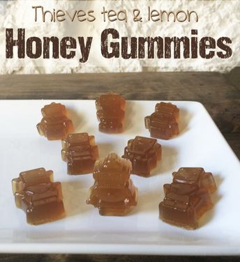 #YoungLivingThieves and Honey Lemon Tea Gummies. These little gems are great to keep colds away. Easy recipe  #yleo #youngliving #thieves  #gummies #homemadegummies #easyrecipe #recipes #honey #lemon #tea #healthy #healthyrecipes #wellness #dietaryessentialoils
