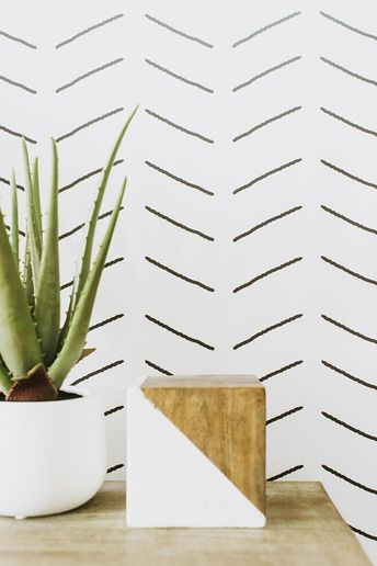 Abstract Herringbone Wallpaper in Black and White REPOSITIONABLE/REMOVABLE Wallpaper Available in Different Sizes