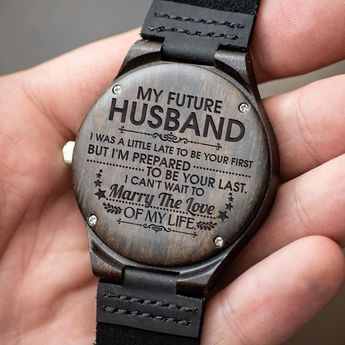 Great Gift For Husband Engraving Wooden Watch | Perfect Gift For Your Husband