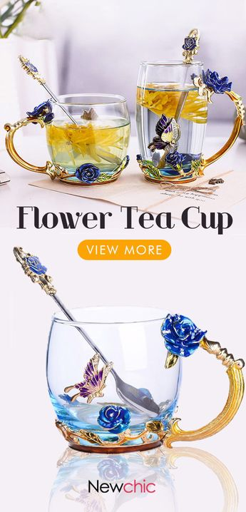 【50% off】Enamel Glass Rose Flower Tea Cup Set Spoon Coffee Cup Beer Mug Kit Wedding Gift.#gift #enamelcup #homedecor