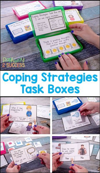 Coping Strategies activities with task boxes to help kids learn how to manage their emotions and stress. Kids will identify, practice, and discuss coping strategies. Some strategies discussed include deep breathing, coloring, reading, talking to someone, using self-talk, and more. #zen #calmdown #copingskills