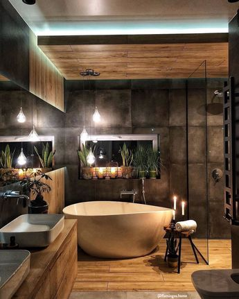 Una spa in casa ✨ Il bagno è un luogo intimo e privato in cui passiamo molto tempo, perciò è necessario creare un angolo da sogno e una piccola oasi di benessere. Lussuosi, classici, moderni, naturali, shabby o scandi e per ogni misura, piccolo, stretto o molto grande, esiste un bagno che fa per te, grazie ad accessori, tessili ed asciugamani di stile! 📸 @flamingos.home // Vasca Industrial Moderno Idee Arredo Legno Parquet Gres Doccia Lavandini #bagno #interiordesign