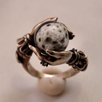 "Omnia Studios: ""Oracle"" ring of brass with hand-blown glass orb and tiny faceted topaz"