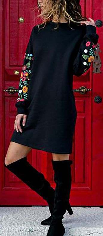 Hot Dress Sexy Round Neck Loose Printed Long Sleeve Dress