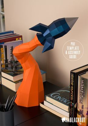 DYI 'Blast Off Rocket' 3D papercraft sculpture. Instant download, PDF template and assembly guide to build your own stunning low poly paper craft model of a rocket blasting off into space! | Kablackout: Paper in Three Dimensions