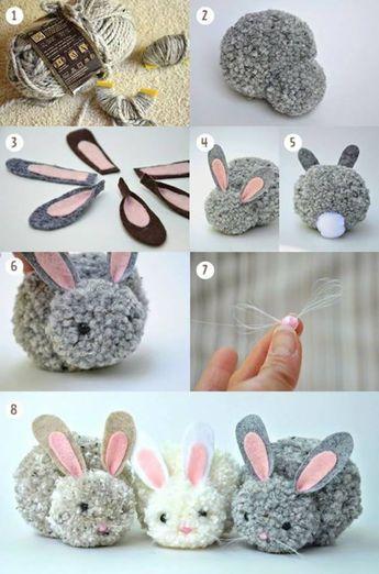 How to easily make a pom pom rabbit