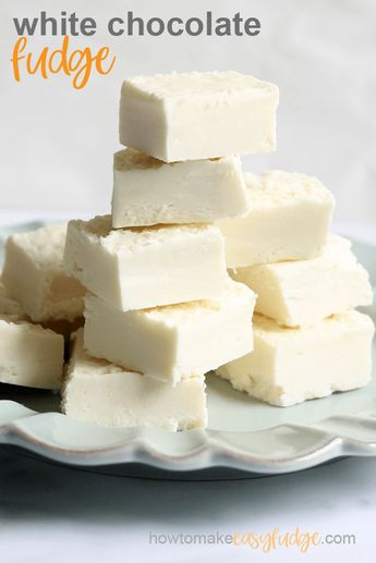 Combine white chocolate chips and store-bought frosting to make delicious, easy, 2-ingredient vanilla white chocolate fudge in the microwave! #microwave #vanillafudge #easyfudge #microwavefudge #whitechocolate