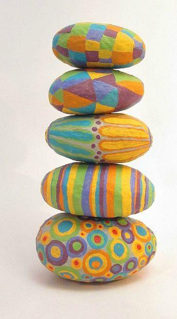 Paper Mache Stones: Set of Five Colorful Decorative Handsculpted Papier Mache Accent Stones in Assorted Colors