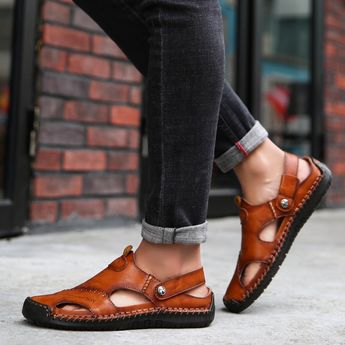 Men Hand Stitching Closed Toe Comfy Soft Leather Sandals