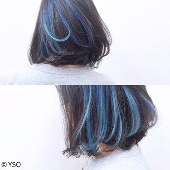 インナーカラーをブルーのアンサンブルで。
