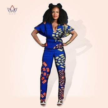 5b83393fda24 African women jumpsuit with print women african clothing two pieces short  sleeve dashiki pant plus size