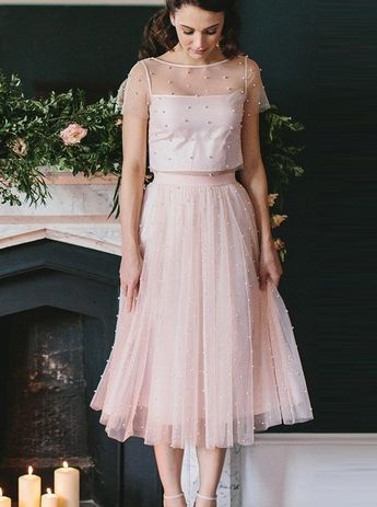 Princess Prom Dresses, Two Piece Tea Length Pink Tulle Bridesmaid/Homecoming Dress with Pearls