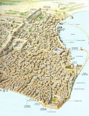 Thought you might like what I found: a map of Crusader Acre in the 13th century, capital of the Kingdom of Jerusalem (x-post /r/papertowns)