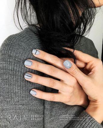 pale blue gray nail polish with minimal black art design, pale blue gray color nails with minimal black polka dots and stripes #style #beauty