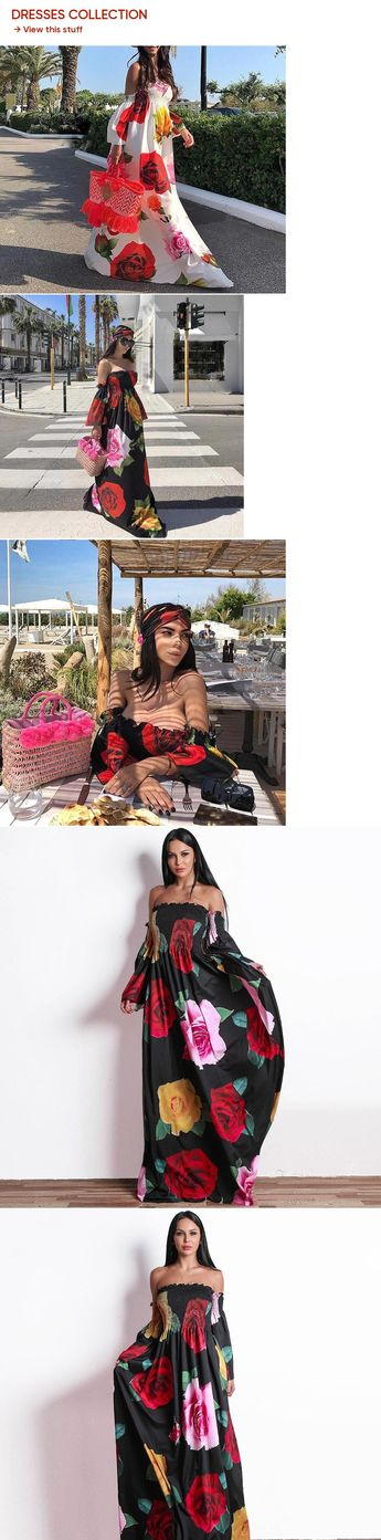 2018 Women Sexy One-Neck Flower Print Dress Off Shoulder Long Sleeve  Backless Dress Elegant ff50bb321d0b
