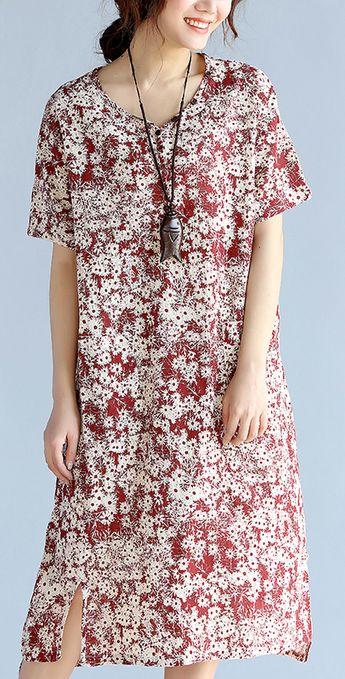 fashion red prints linen shift dresses trendy plus size traveling dress New side open v neck linen dresses1