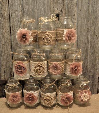 bridal shower centerpieces rustic wedding burlap lace mason jars wedding centerpieces no