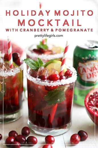 Holiday Mojito Mocktail with Cranberry and Pomegranate - The Pretty Life Girls